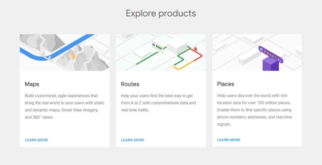 照片為Google Maps API統整為三大項目,從左至右依序為Maps、Routes、Places