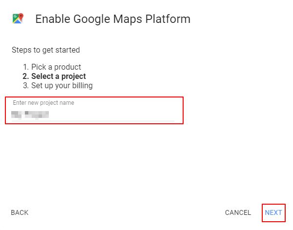 照片為設定新的Google Maps專案、產生金鑰並更新語法3