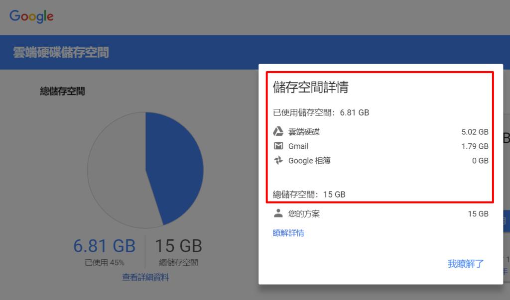 圖片為開啟google drive雲端儲存空間詳情的畫面