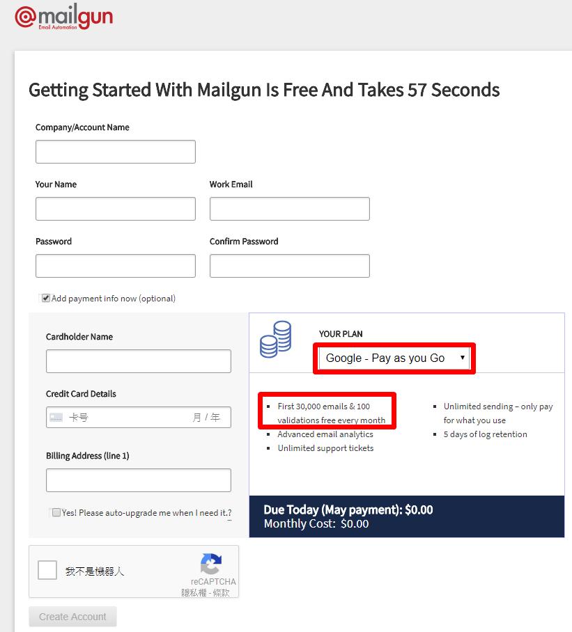 mailgun-google plan