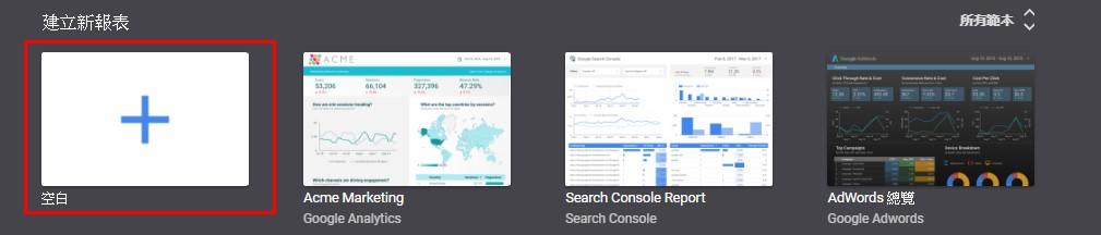 照片為Google Data Studio新增空白頁面的截圖