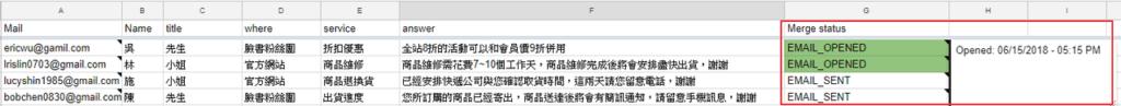 照片為在Google試算表當中追蹤郵件瀏覽狀態