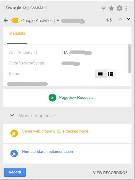 照片為點擊Google Tag Assistant黃標籤的結果,內有修正建議