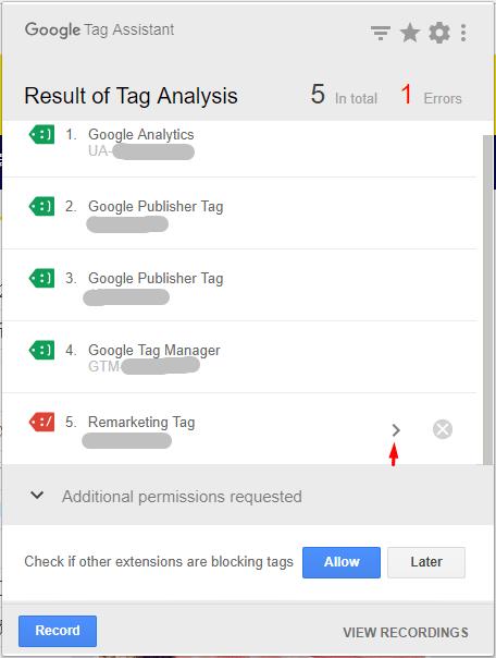 照片為Google Tag Assistant的驗證結果,有不同顏色的標籤,最下方為紅標籤