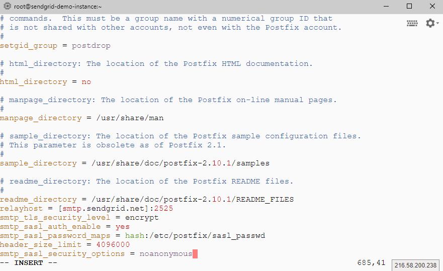 貼上postfix設定值