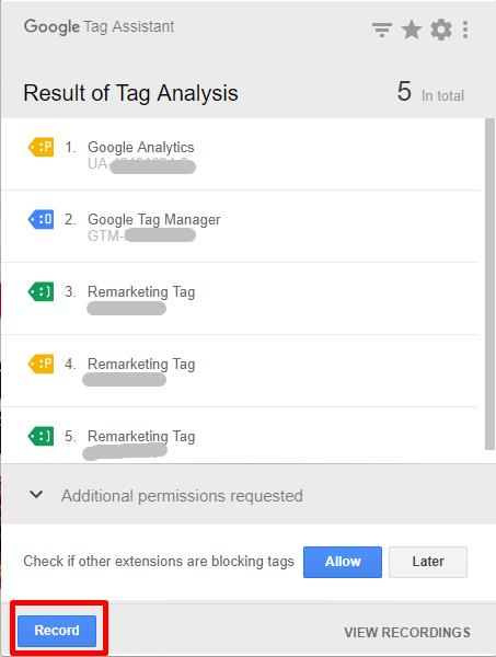 照片紅框處為Google Tag Assistant的Record功能