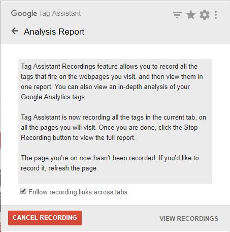 照片為Google Tag Assistant記錄分頁的活動