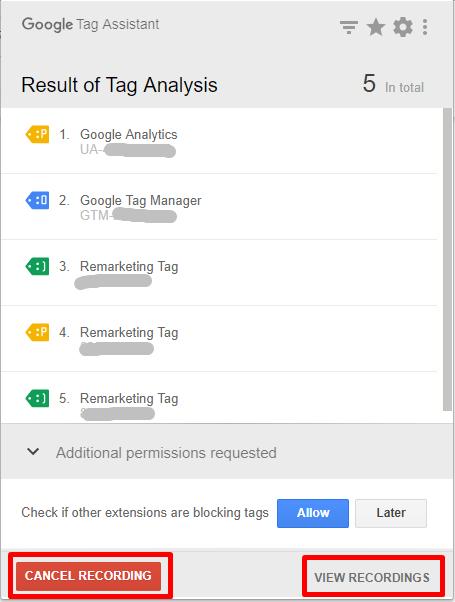 照片為Google Tag Assistant記錄功能,左下方為取消紀錄,右下方為觀看紀錄結果