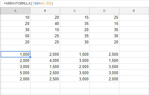 ARRAYFORMULA陣列計算結果