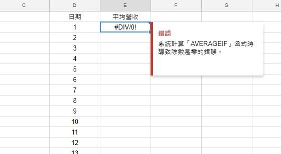 =averageif(DAY(A:A),D2,B:B)顯示錯誤