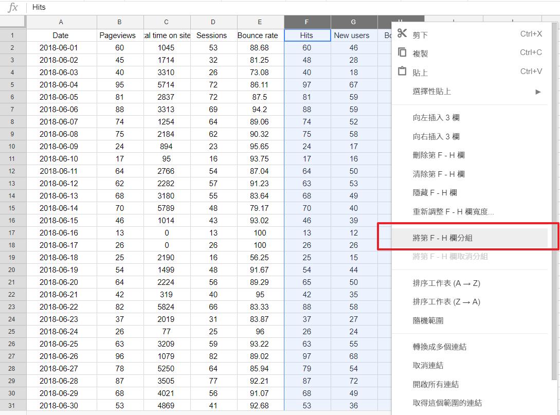 照片為將Google試算表大範圍的多欄多列進行欄位分組,省下單欄單列去收合的動作。