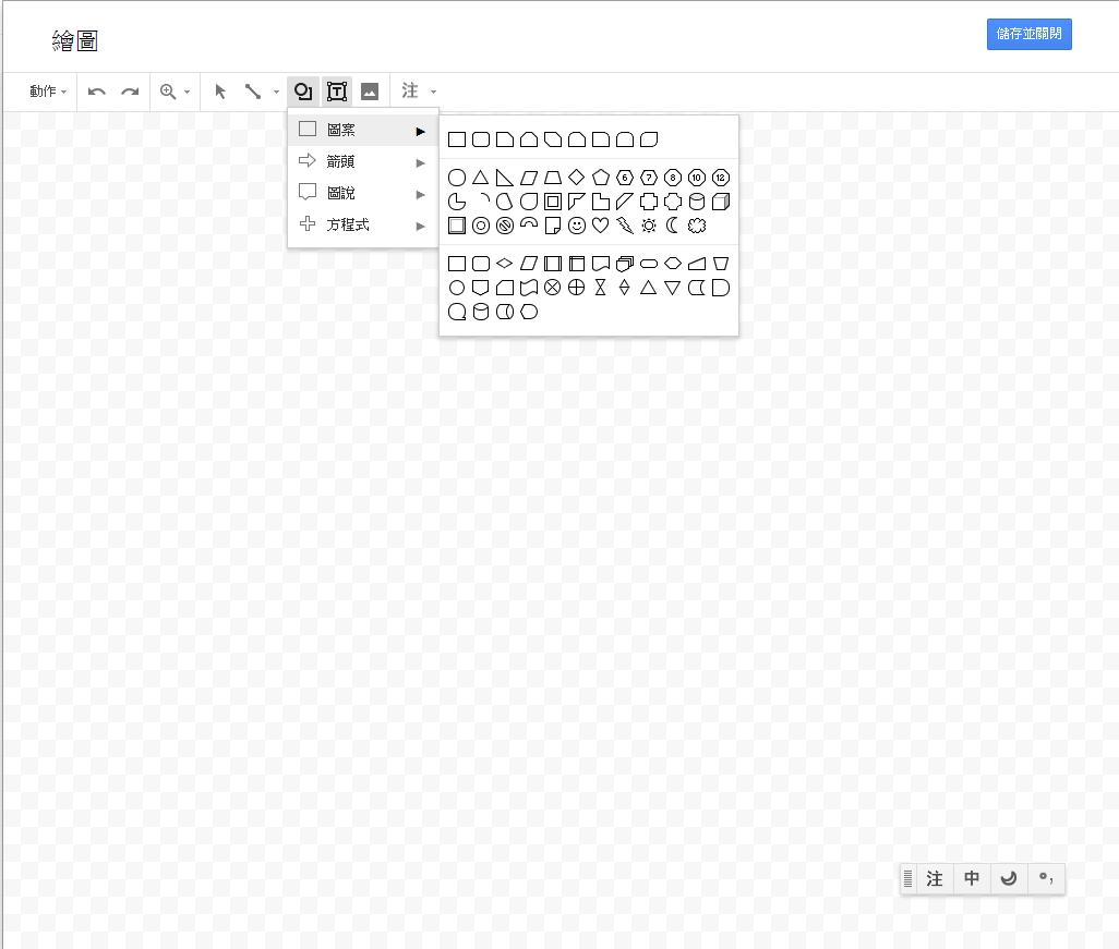 照片為Google文件中插入繪圖的視窗