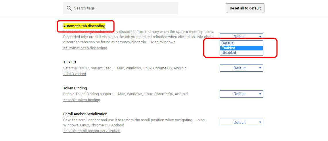 照片紅框處為設定分頁捨棄功能,Automatic tab discarding,選擇「Enable」