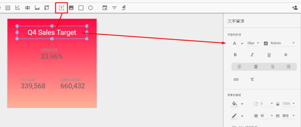 照片為Google Data Studio為數字方塊建立文字