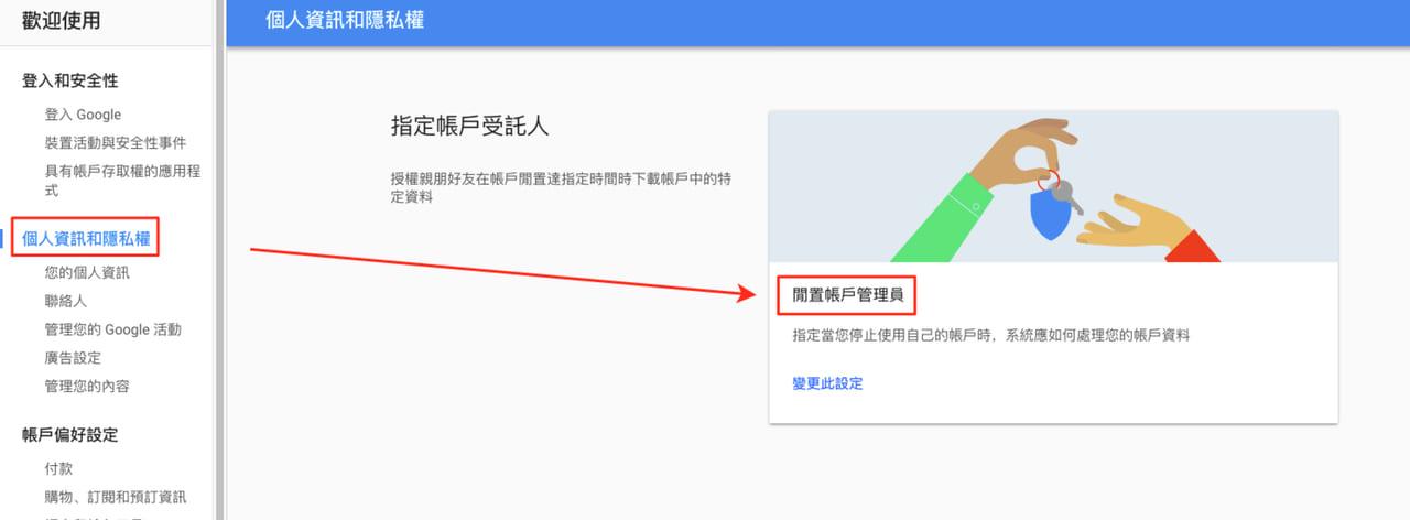 照片為Google帳戶設定中,個人資訊和隱私權頁,點選紅框處「閒置帳戶管理員」