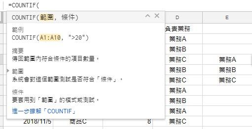 照片為使用COUNTIF,計算符合條件的儲存格