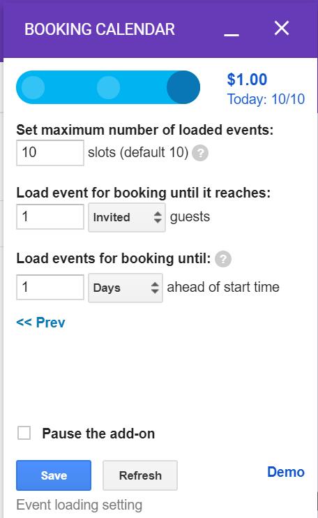 Booking Calendar的第三頁為設定活動數量、報名名額以及可預約幾天以前的活動